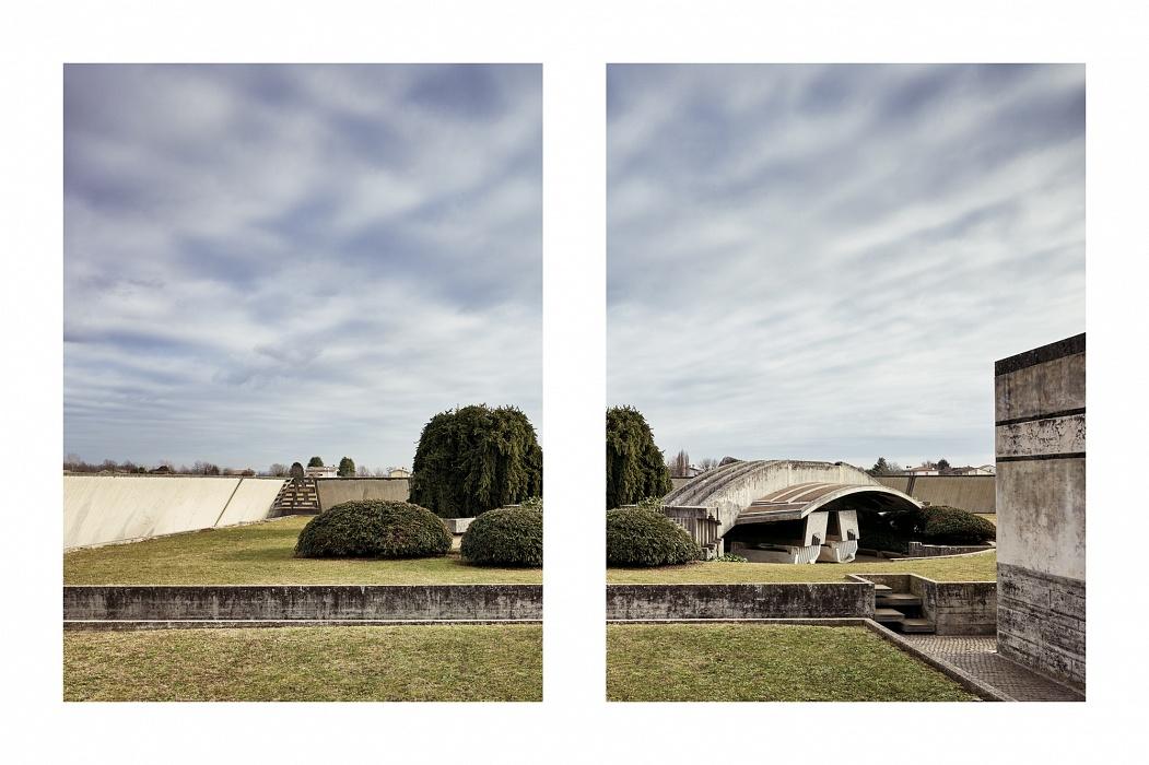 Arcosolio dal lato Ovest - Tomba Brion - San Vito (TV) - Documentazione dei lavori di restauro e manutenzione 2017 - Vista dei sacelli dei coniugi  coperti dall'arcosolio.