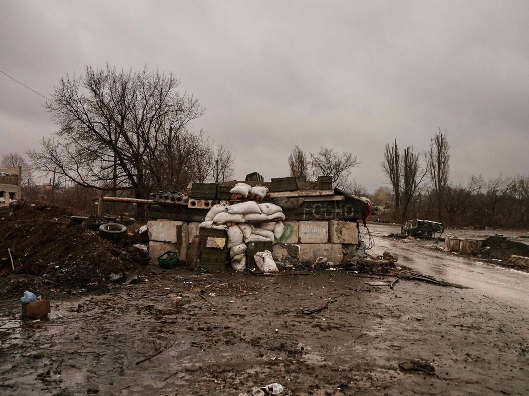 Ukraine; Donbass region; Debaltsevo; 2015  Check point near Debaltsevo.