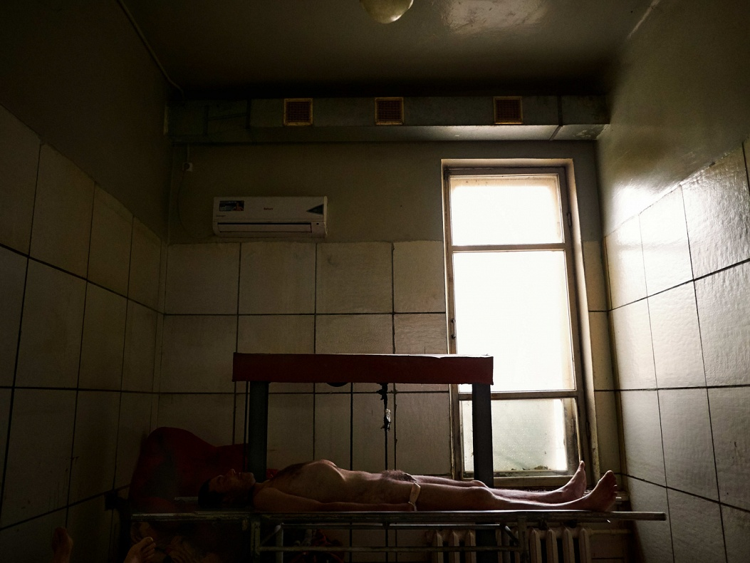 Ukraine; Donbass region; Donetsk; 2014  The morgue of the city of Donetsk. Every day dozen of corpses arrive from the frontline. Most of them remain unrecognized.