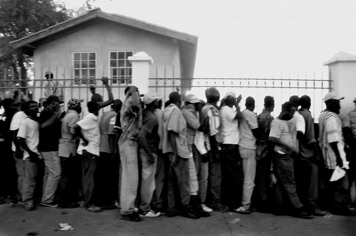 Haiti; Cite Soleil; 2010  Food distribution.