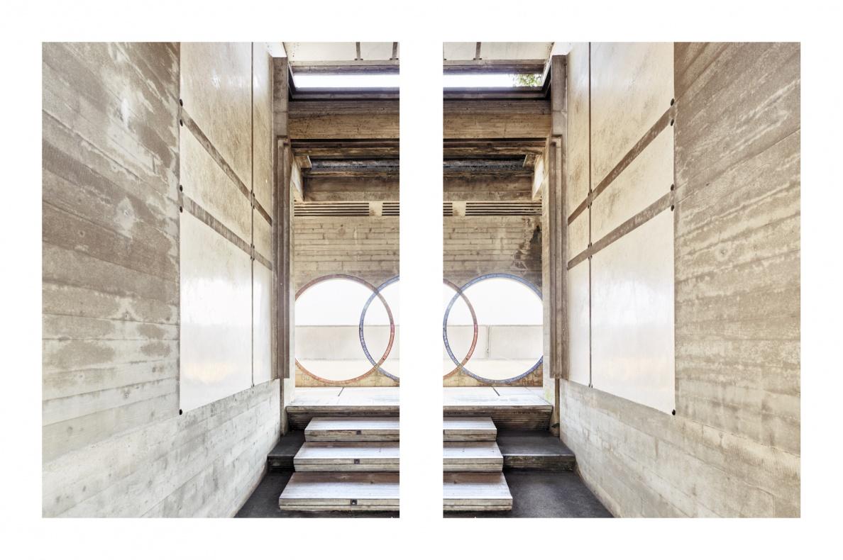 Tomba Brion - San Vito (TV)  - Tomba Brion - San Vito (TV) - Documentazione dei lavori di restauro e manutenzione 2017 - Vista dei Propilei dal lato di ingresso del cimitero.