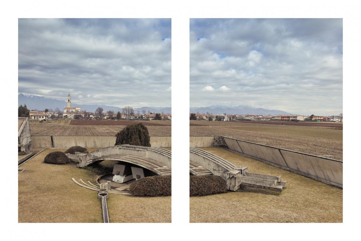 Arcosolio dei coniugi dai propilei - Tomba Brion - San Vito (TV) - Documentazione dei lavori di restauro e manutenzione 2017 - Vista dei sacelli dei coniugi  coperti dall'arcosolio, dai propilei