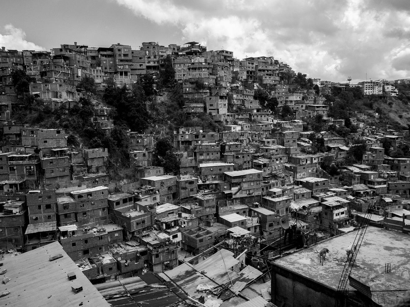 Venezuela; Miranda; Petare; 2015  View of a Barrio of Petare. The high density slum extends both vertically and horizontally with precarious and unstable shacks.