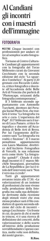 """Articolo apparso su """"IL GAZZETTINO"""" di Venezia il 12 gennaio 2018"""